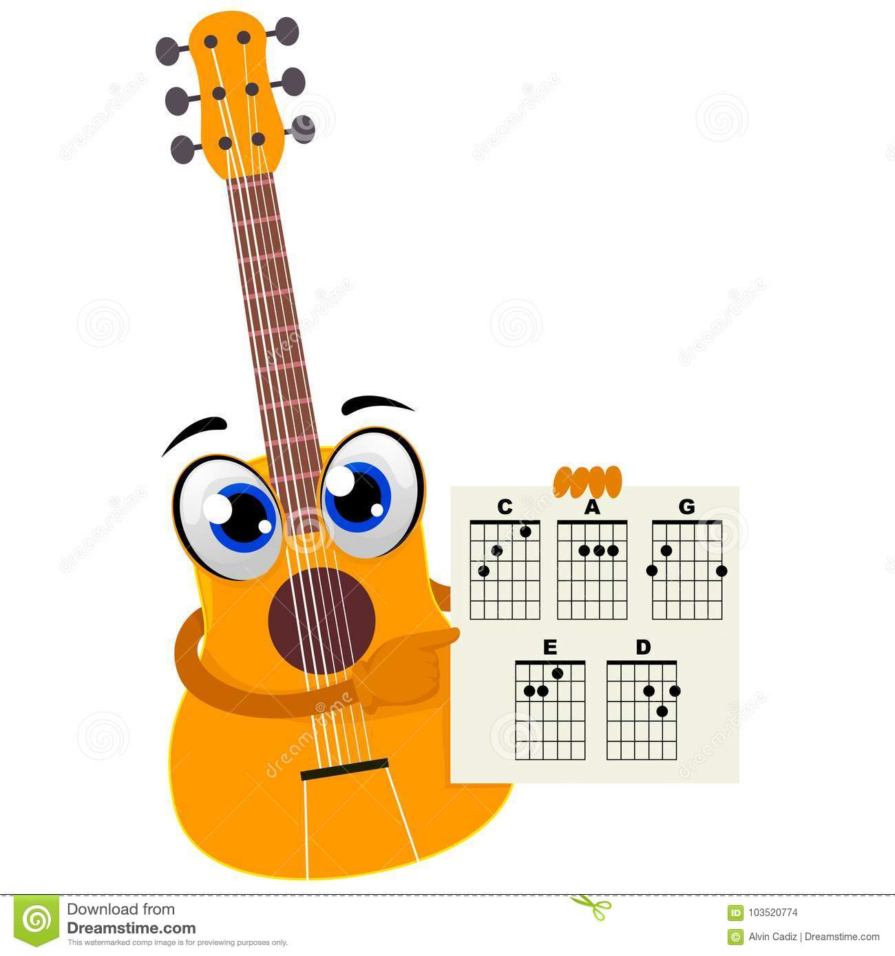 Acoustic Guitar Holding A Paper With Chords Stock Vector
