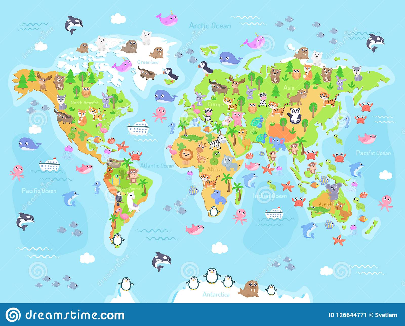 Vector Illustration Of World Map With Animals For Kids. Stock ... on playas n. america, rivers america, map italy, map europe, funny america, ohio state america, states in america, latin america, map mexico, map canada, north america, atlas america, map belize, club america, central america, map georgia, vincennes map america, map australia, physical map america,