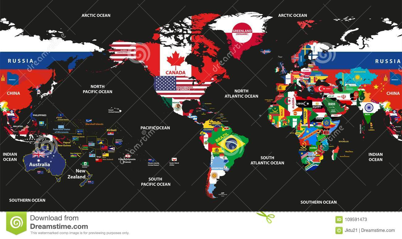 Vector illustration of world map jointed with national flags with download vector illustration of world map jointed with national flags with countries and oceans names centered gumiabroncs Image collections