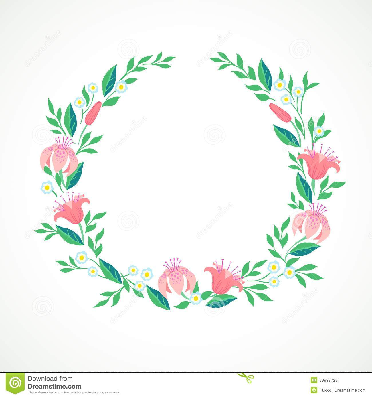 ... Illustration Of A Wreath With Flowers Stock Vector - Image: 38997728
