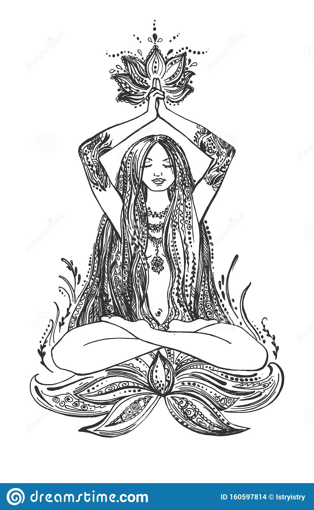 Pretty Girl Meditating In Lotus Pose Stock Vector Illustration Of Hand Padmasana 160597814