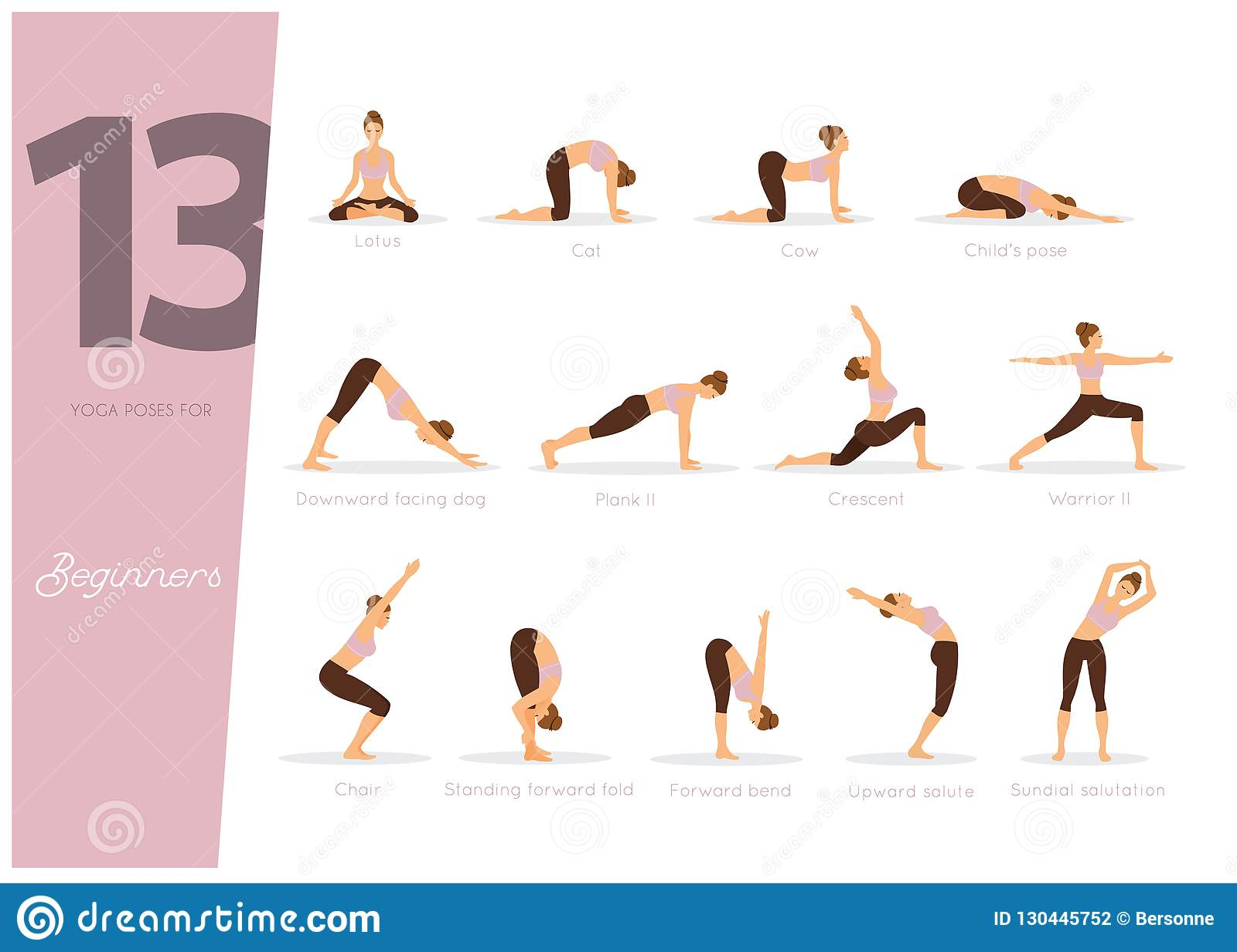 40 Yoga Poses For Beginners Stock Vector - Illustration of figure