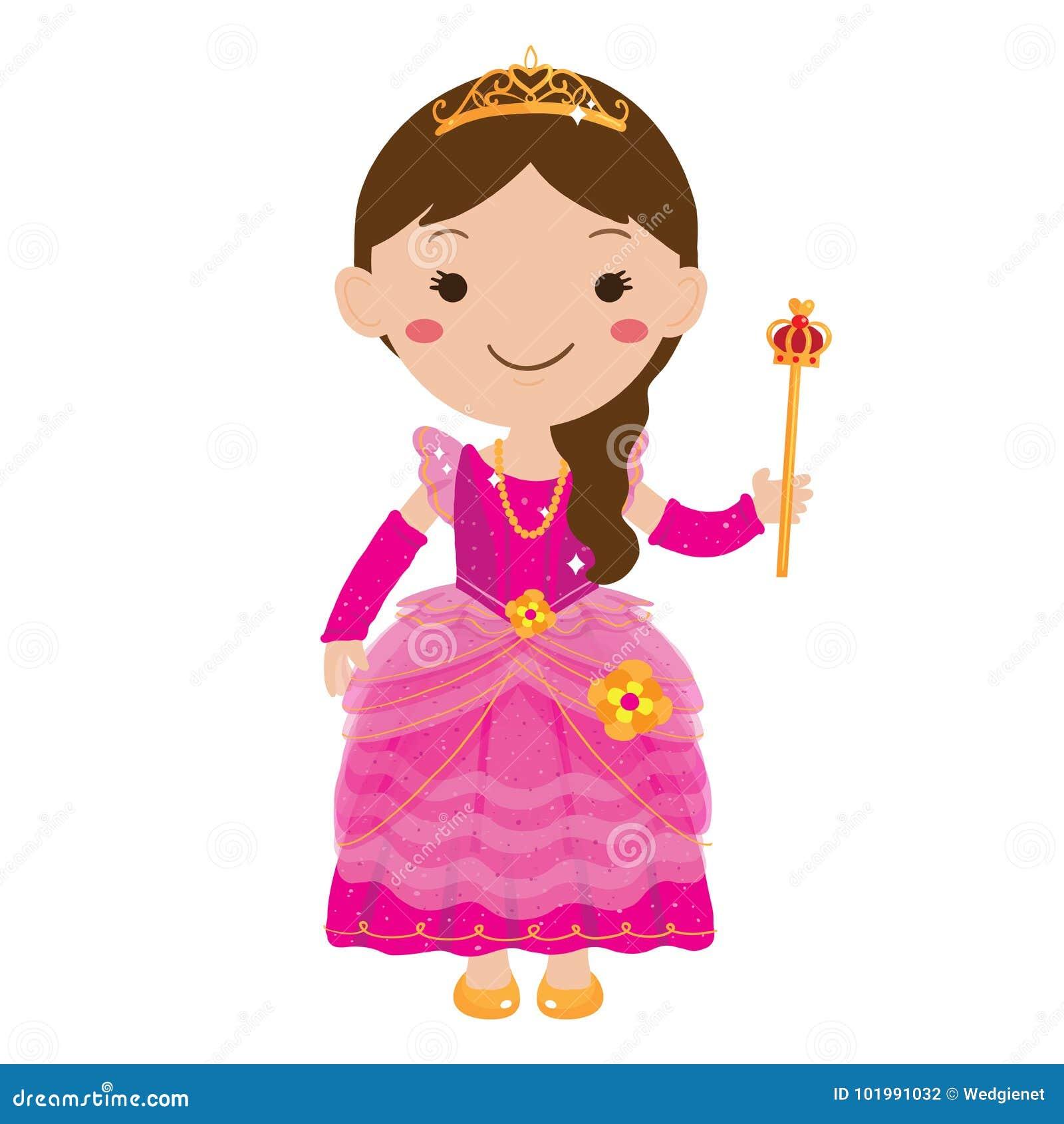 Vector illustration of young girl wearing pink princess dress