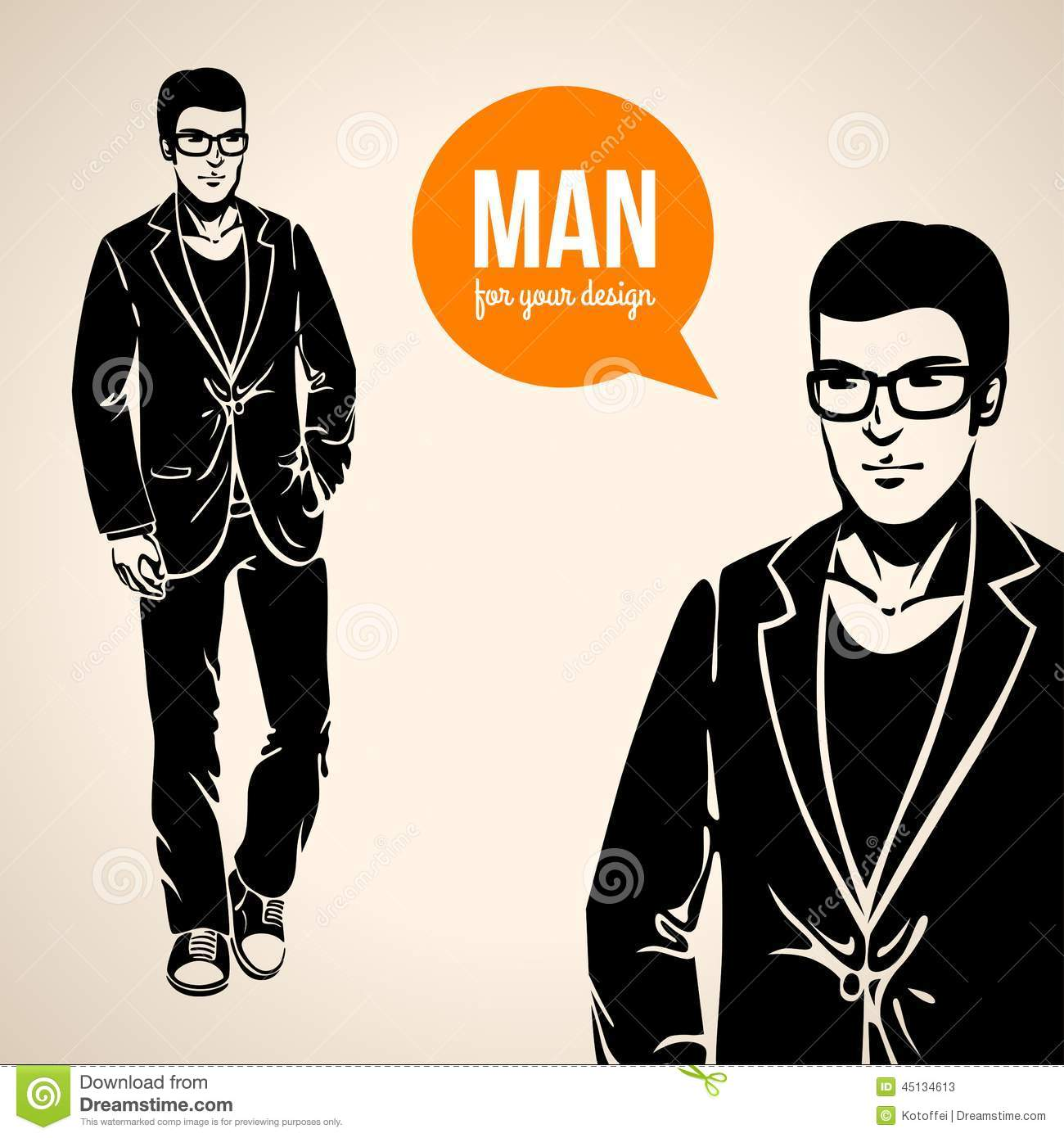 Vector Illustration Of A Young Handsome Man In Casual