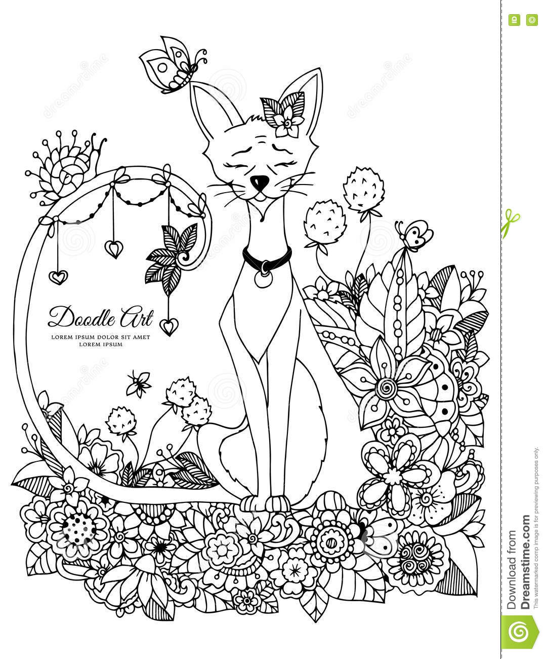 Vector Illustration Zen Tangl Cat Sitting In The Flowers Doodle Drawing Mushrooms Coloring Book Anti Stress For
