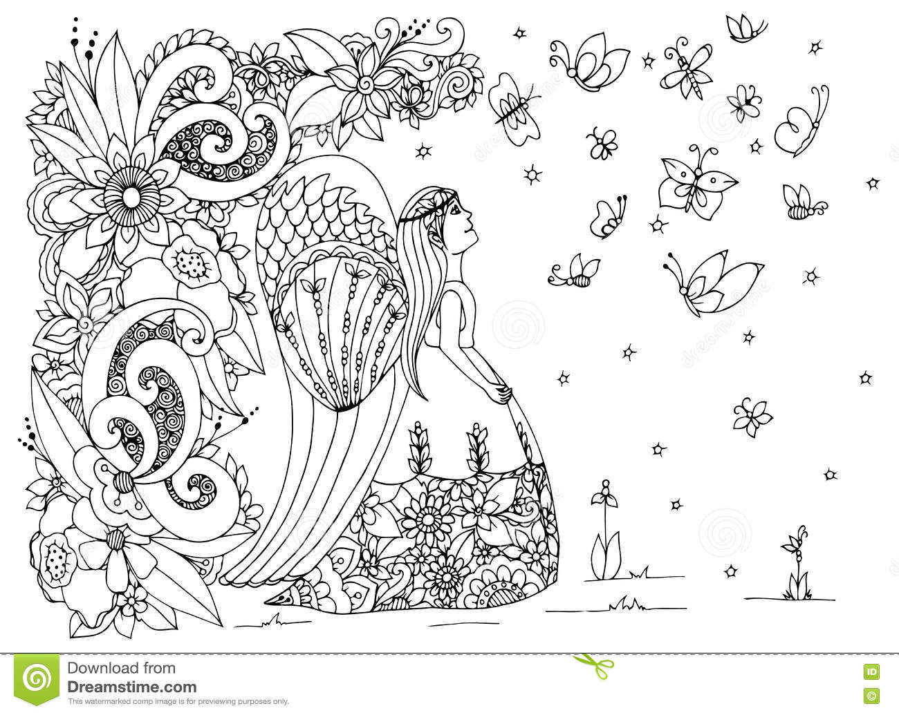 angel flower girl coloring book vector illustration zen tangle angel girl with flowers - Flower Girl Coloring Book