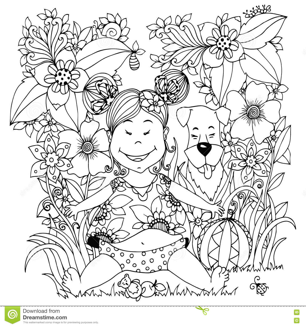 coloring page outline of dog with ball stock vector image 73522464
