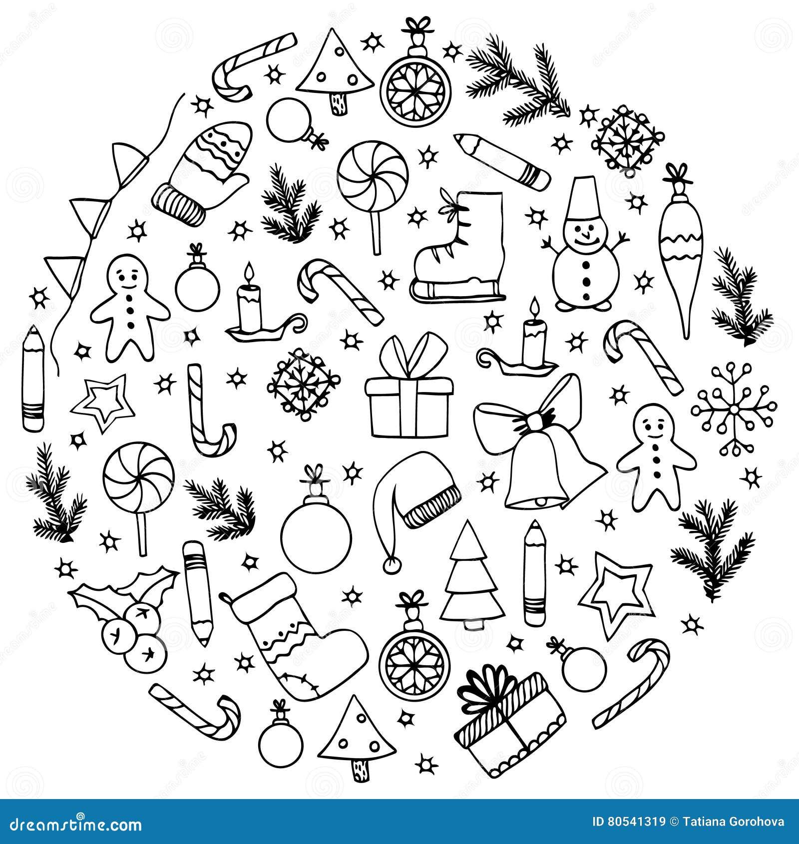 Vector Illustration Zen Tangle, Circle Elements Christmas