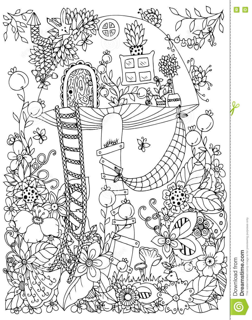 Vector illustration zen tangle doodle house of the fungus Coloring books for young adults