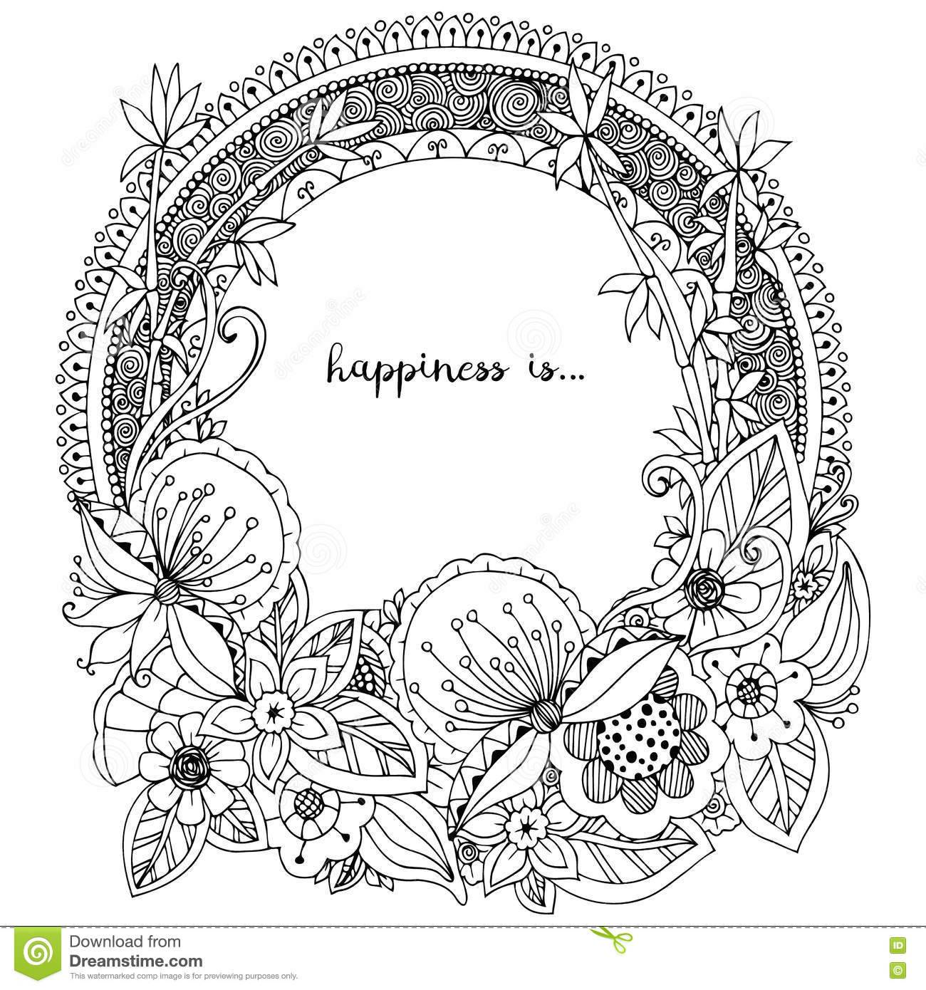 Download Vector Illustration Zen Tangle Doodle Round Frame With Flowers Mandala Coloring Book