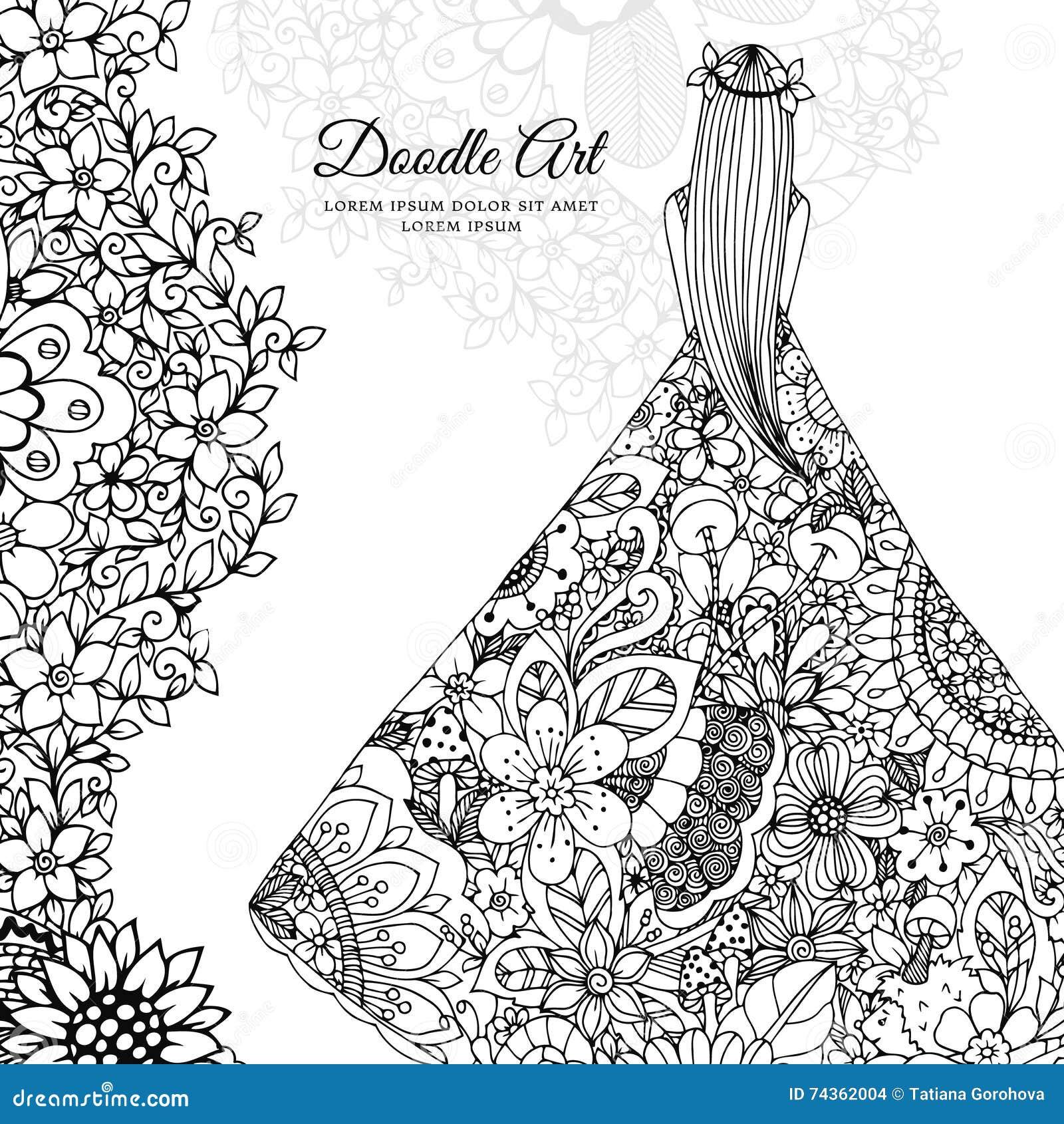 Vector Illustration Zen Tangle Girl In A Floral Dress