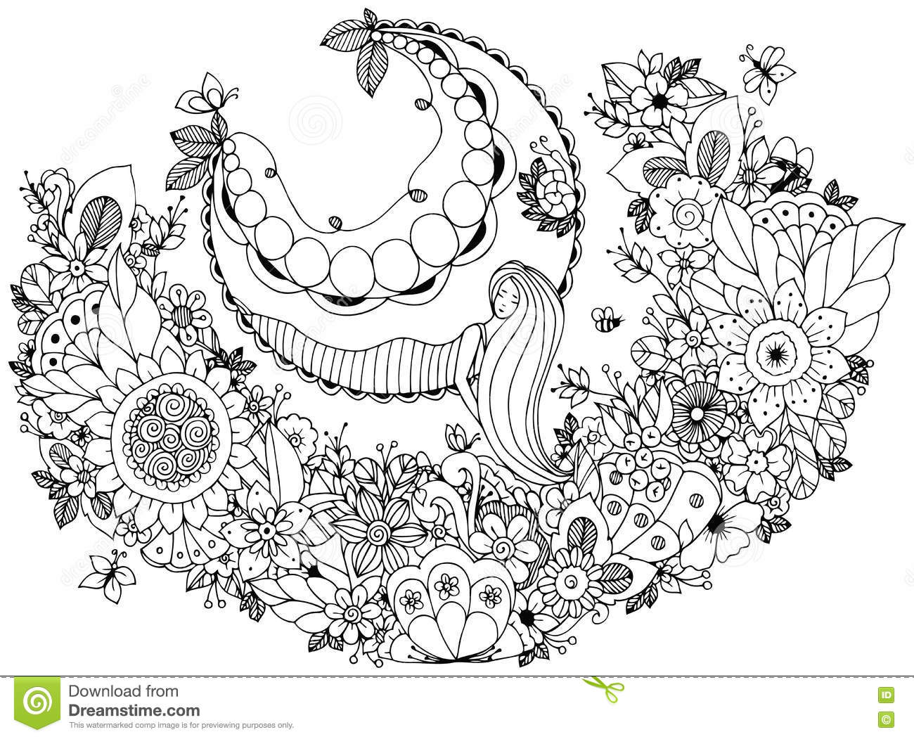 Zen coloring flowers - Vector Illustration Zen Tangle Girl On A Swing In The Flowers Coloring Book Anti Stress