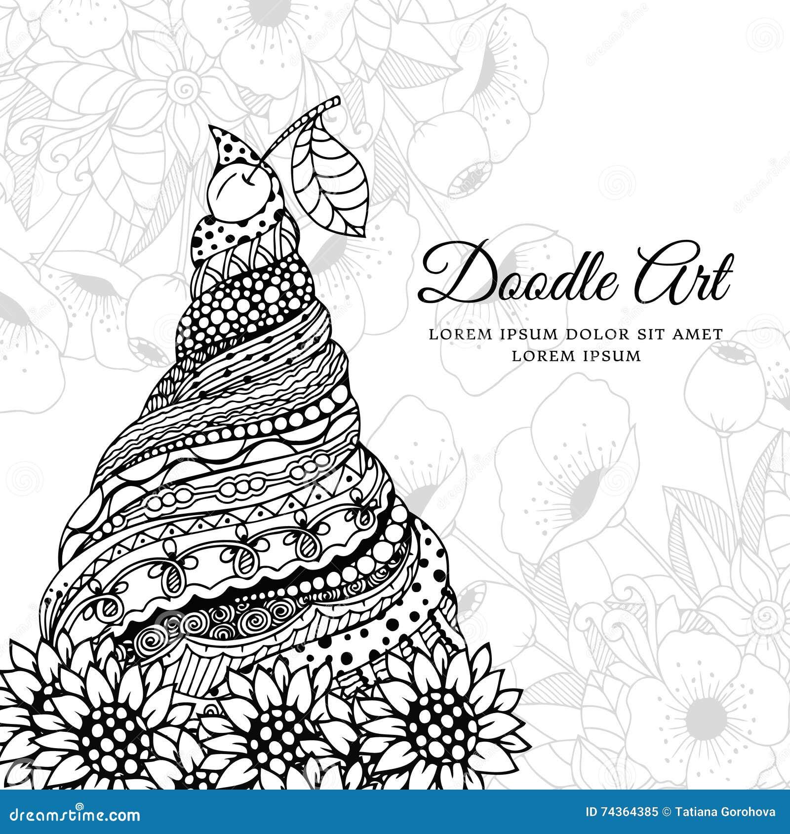 vector illustration zen tangle  ice cream with ornament