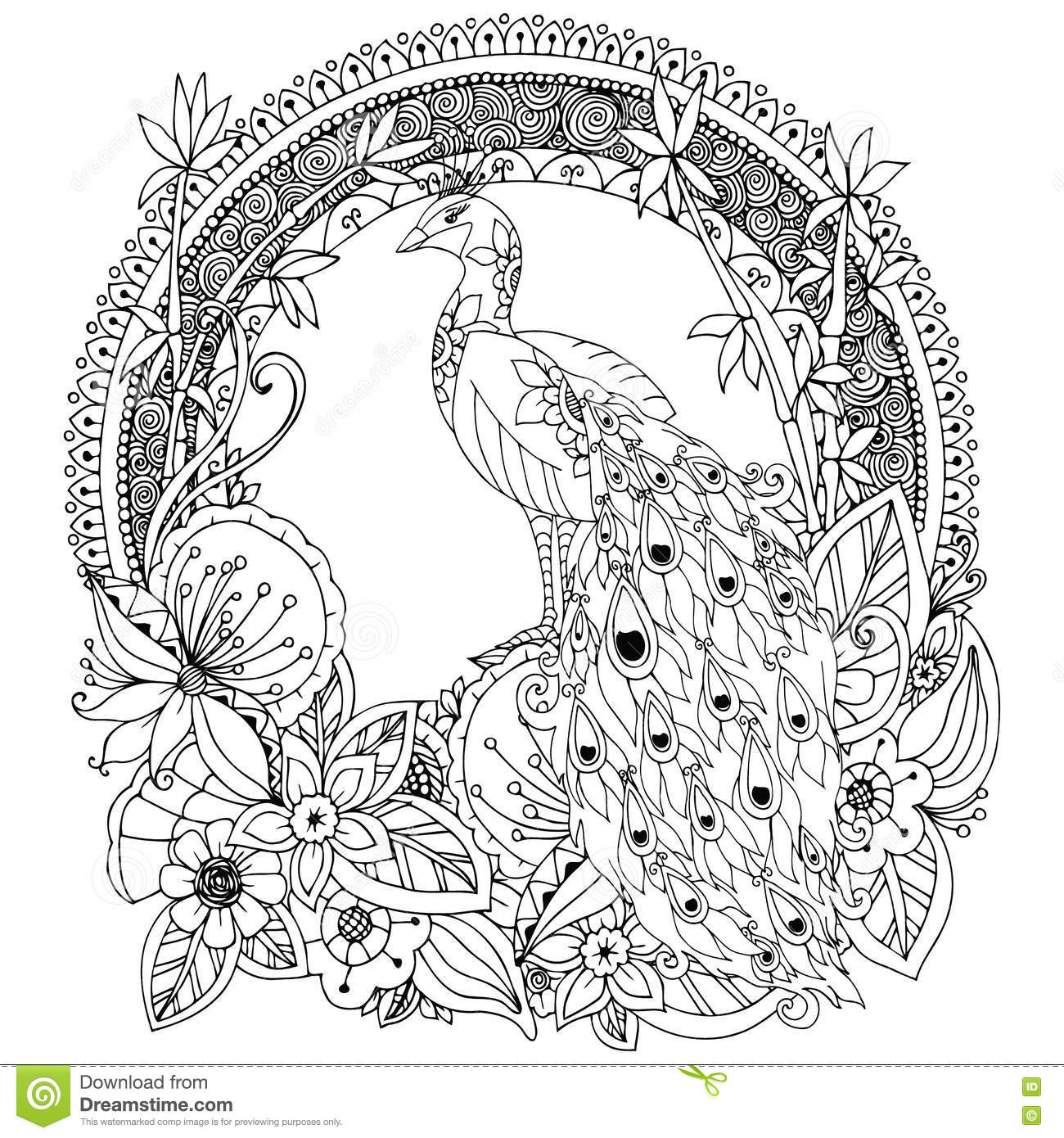 Vector Illustration Zen Tangle Peacock And Flowers Stock