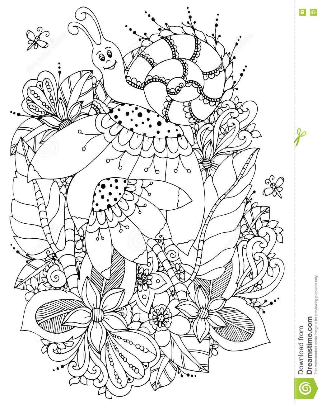 Zen coloring flowers - Vector Illustration Zen Tangle Snail On Flowers Doodle Drawing Coloring Book Anti Stress For