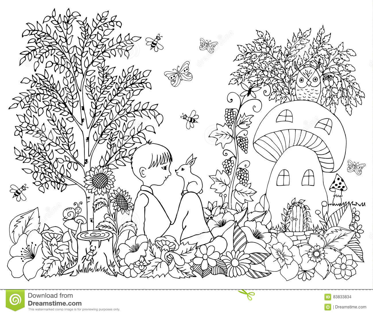 Vector illustration zentagl, boy with a bunny on the nature near the lodge in flowers. Doodle drawing. Meditative exercises. Color