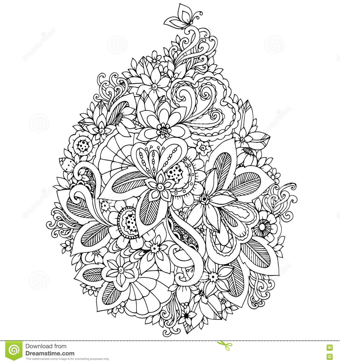 Vector Illustration Zentangl Card With Flowers Doodle