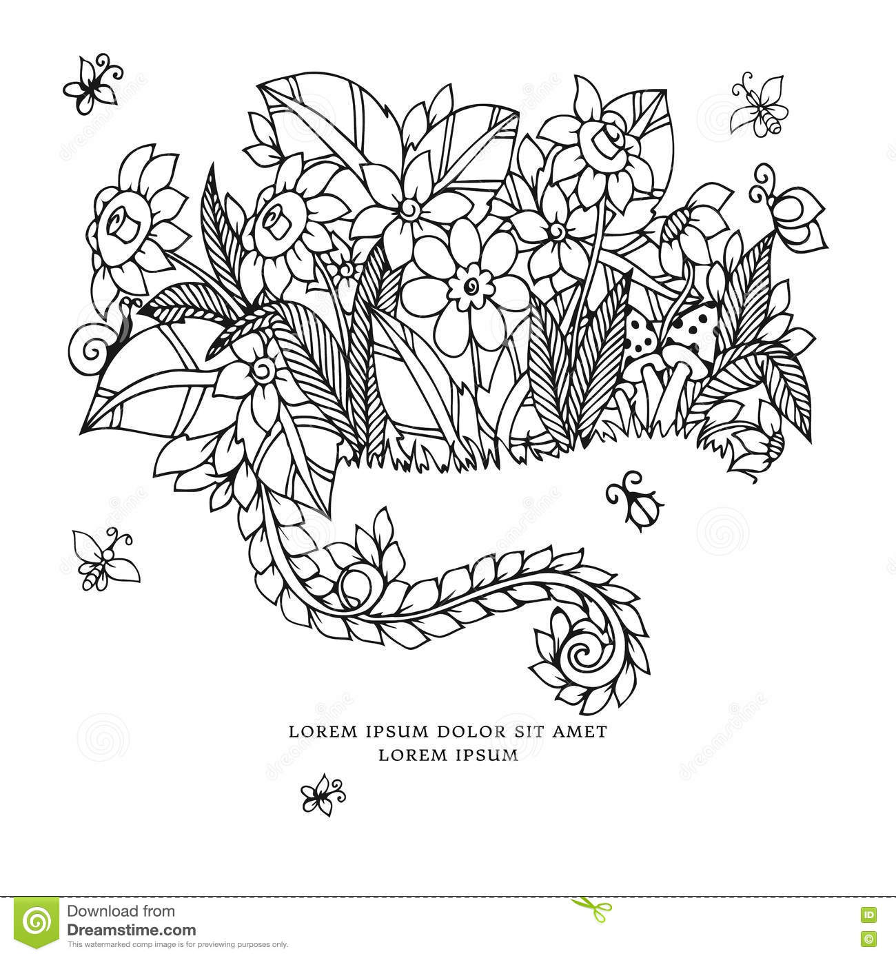 Coloring book wedding pictures - Vector Illustration Zentangl Card With Flowers Doodle Flowers Spring Jewelry Wedding Coloring Book Anti Stress For