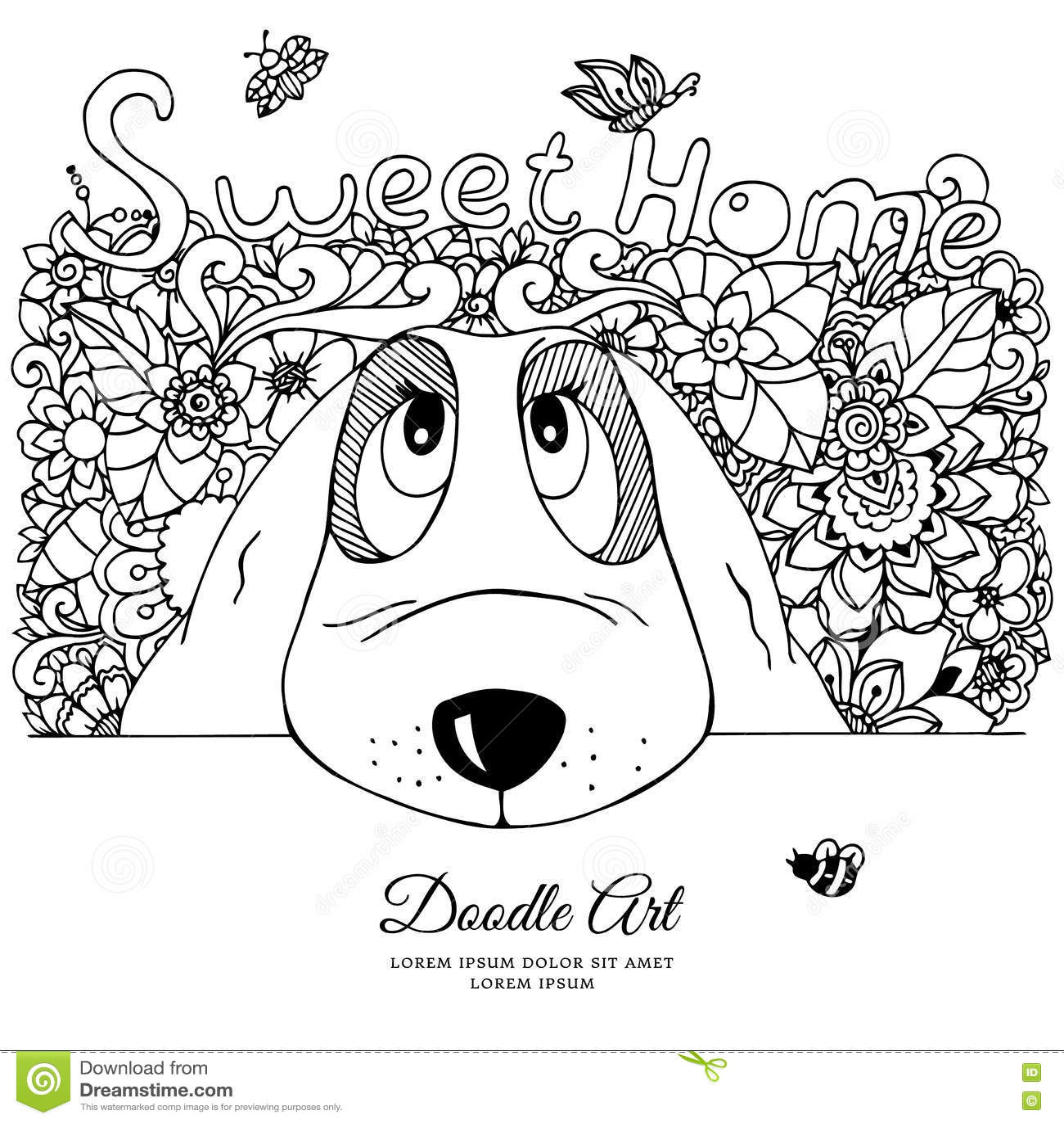 Black Book Coloring Dog Doodle