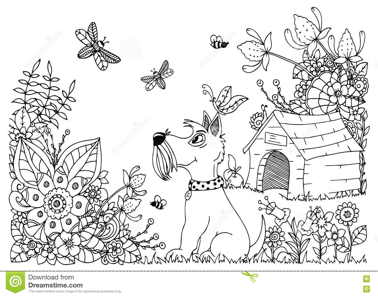 Vector Illustration Zentangl Dog Kennel And In Flowers