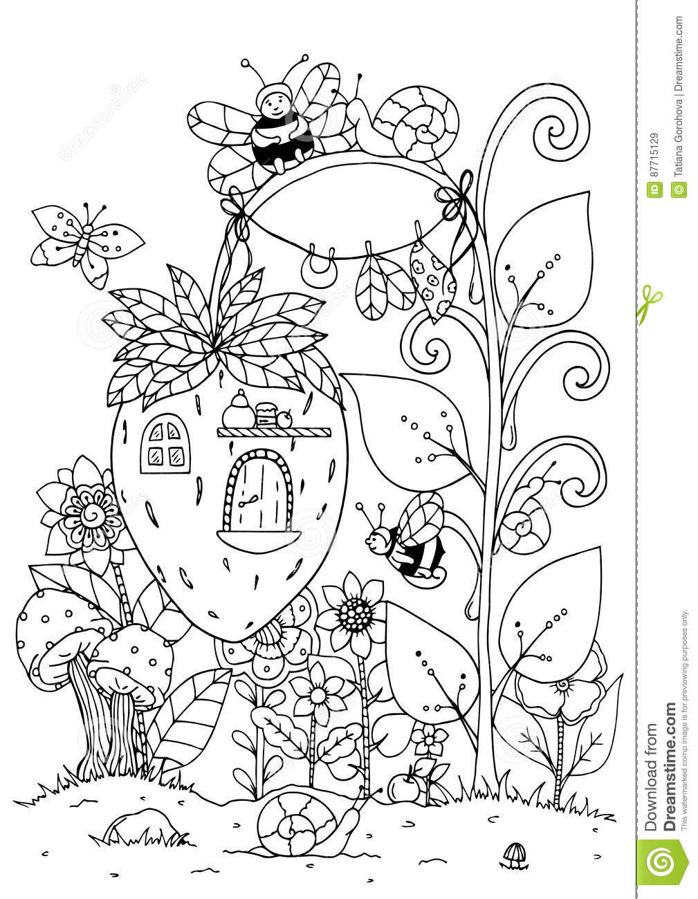 Vector Illustration Zentangl Doodle House Of Strawberries And A Bee