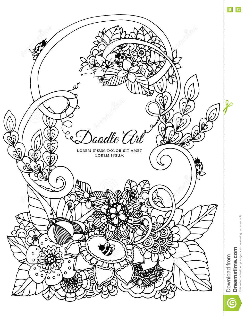 Vector Illustration Zentangl Floral Frame Doodle Drawing