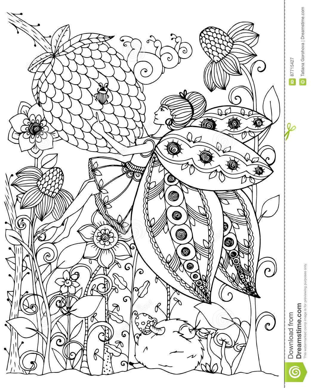 Vector Illustration Zentangl Girl Butterfly In The Flowers ...