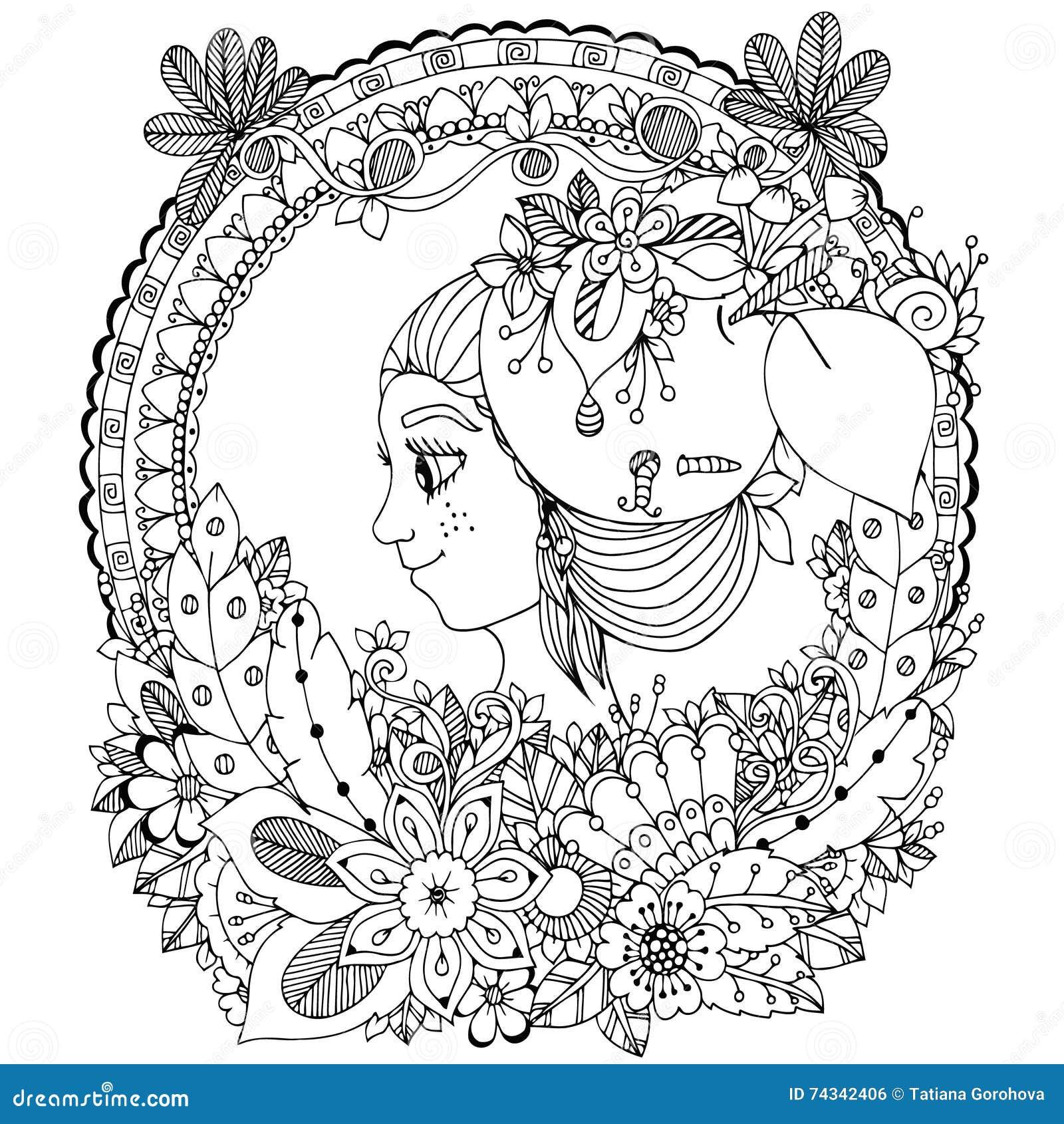 Vector Illustration Zentangl Girl In The Floral Frame Circle