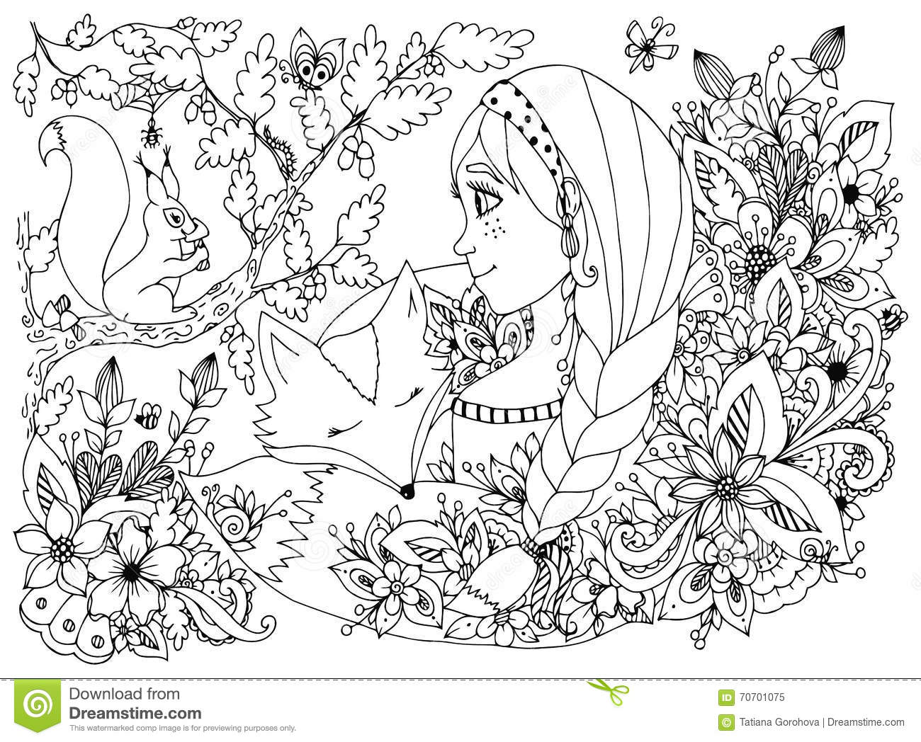 Vector Illustration Zentangl Girl With Freckles Looking At