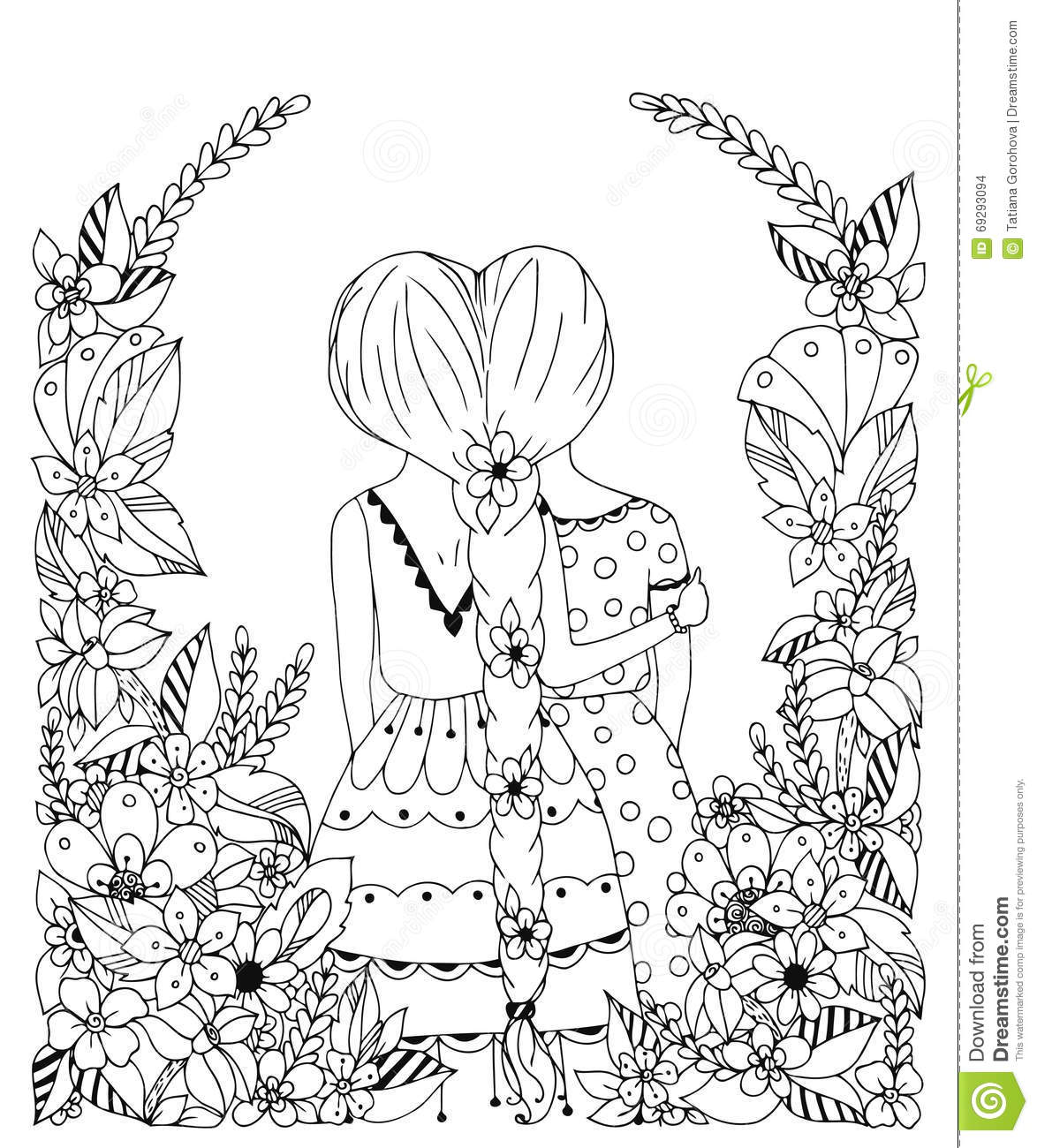 coloring pages about friendship - vector illustration zentangl girl friend in a flower frame doodle flowers spit back hugs