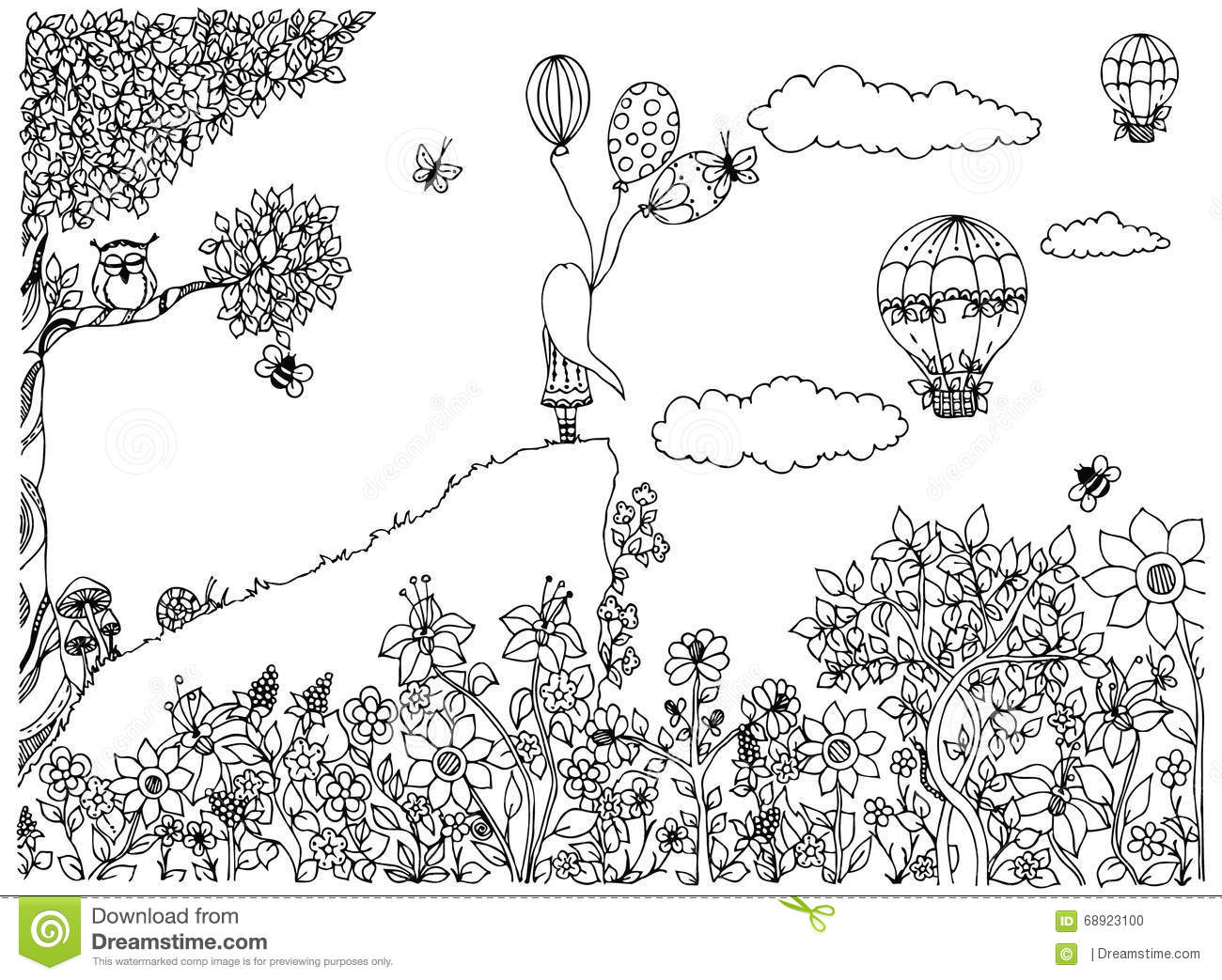 Download Vector Illustration Zentangl Girl On The Mountain With Balloons. Garden, Doodle Flowers, Clouds, Tree, Owl, Zenart Stock Vector - Illustration of beautiful, character: 68923100