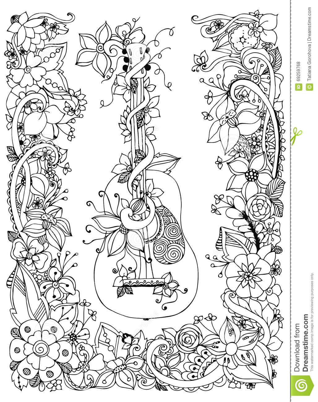 Vector Illustration Zentangl Guitar With Flowers Frame Of