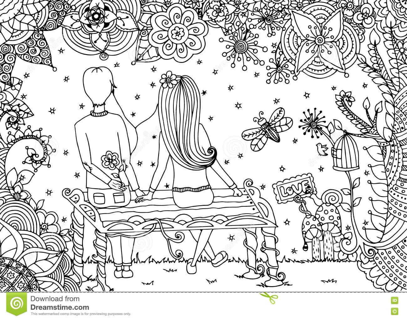 sitting on a bench coloring page stock illustration image