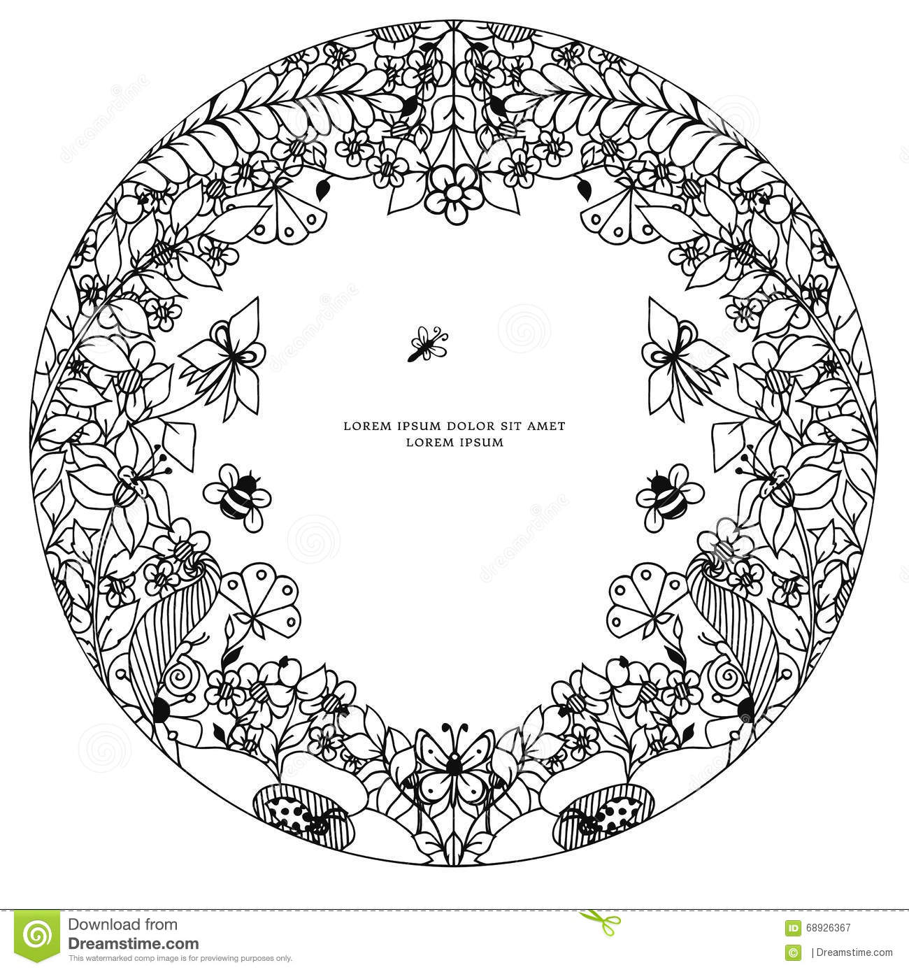 vector illustration zentangl round floral frame  symmetry  doodle flowers  bee  butterfly zenart