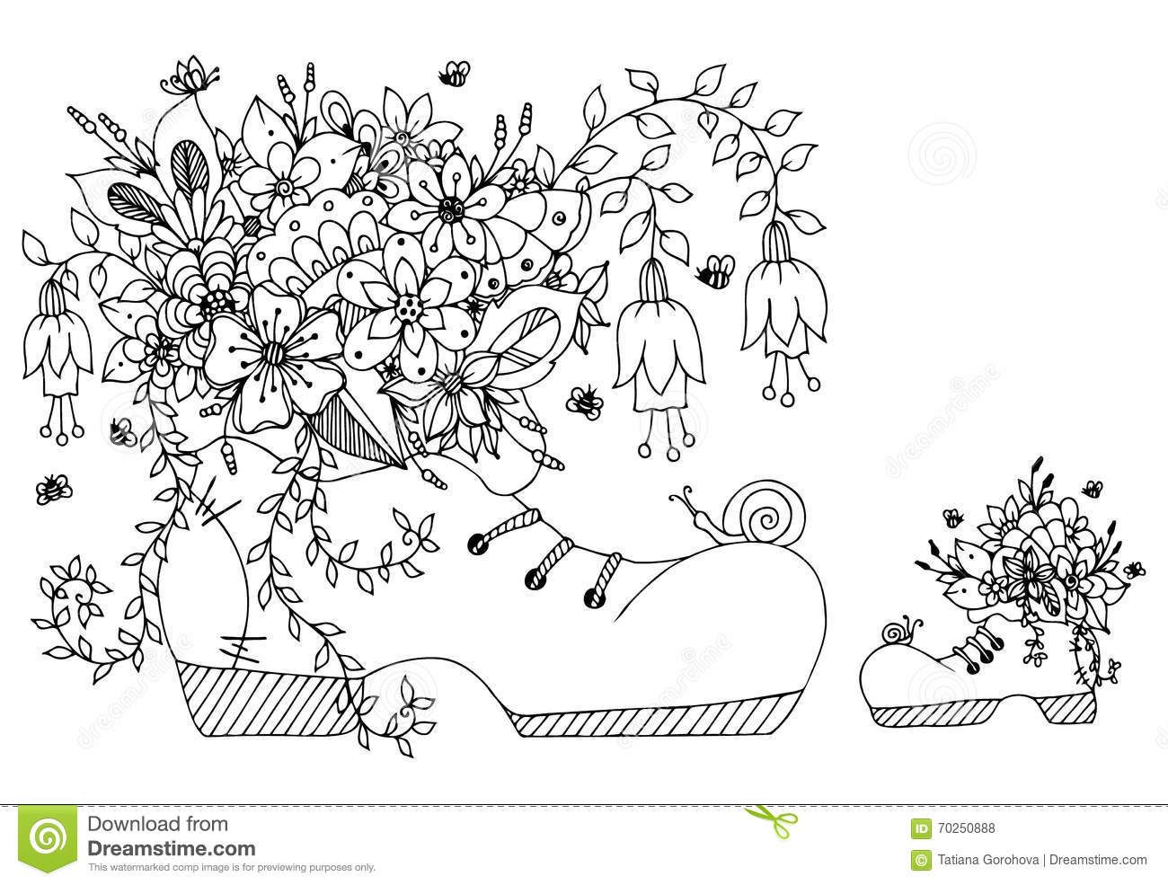 Vector Illustration Zentangl Shoe With Flowers Doodles Art Spring