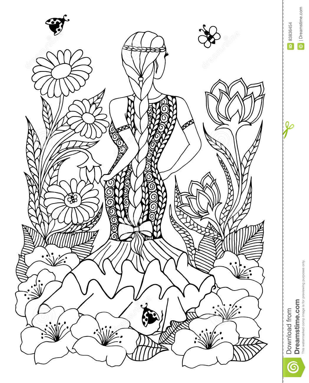 spanish coloring pages for adults | Vector Illustration Zentangl Spanish Woman Girl Standing ...