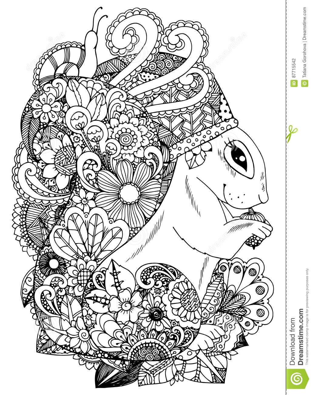 Download Vector Illustration Zentangl Squirrel With Flowers Doodle Drawing Coloring Page Anti Stress
