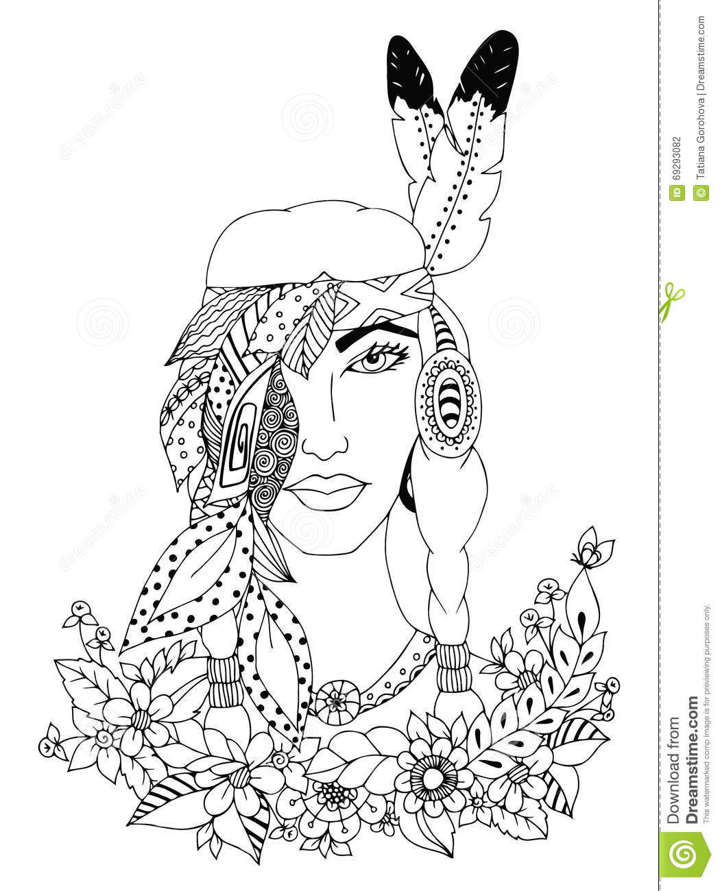 Vector Illustration Zentangl Woman, Girl American Indian ...