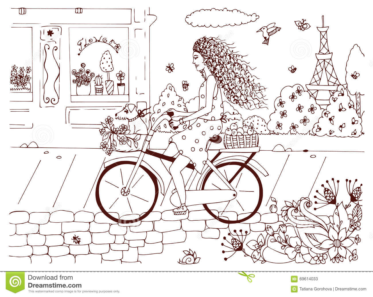 Vector Illustration Zentangl Woman Girl On Bicycle With A Dog Stock Photos