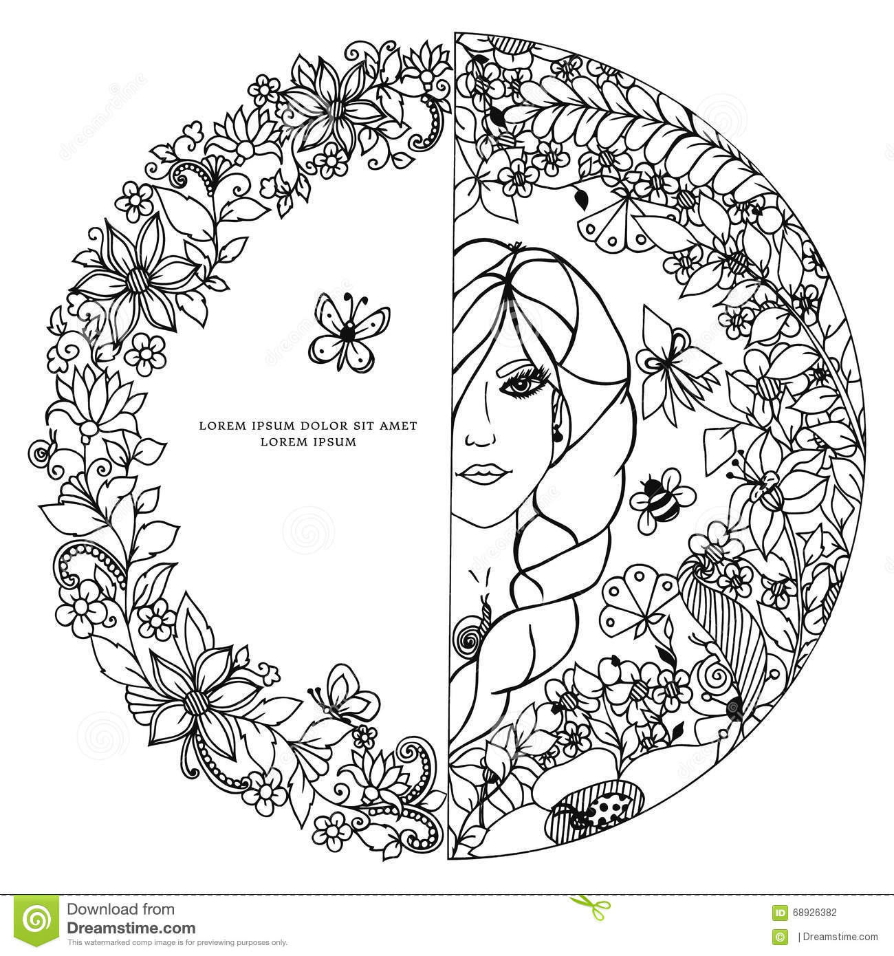 vector illustration zentangl woman in a round frame with flowers  the girl  circle  doodle