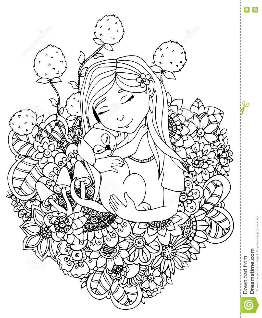 Vector Illustration Zentangle Girl Child And Puppy In Flowers ...
