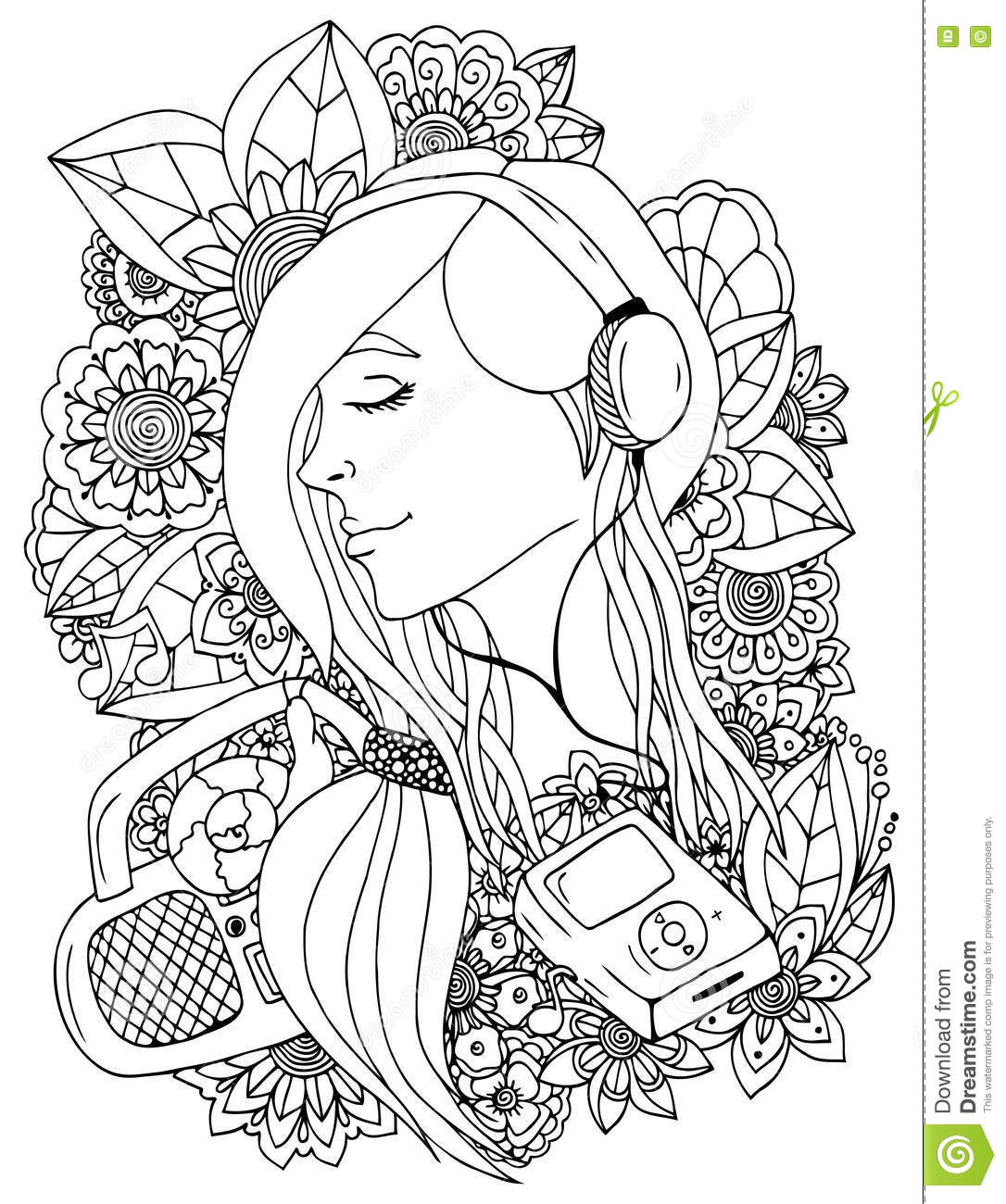 Vector Illustration Zentangle Girl And Headphones In The
