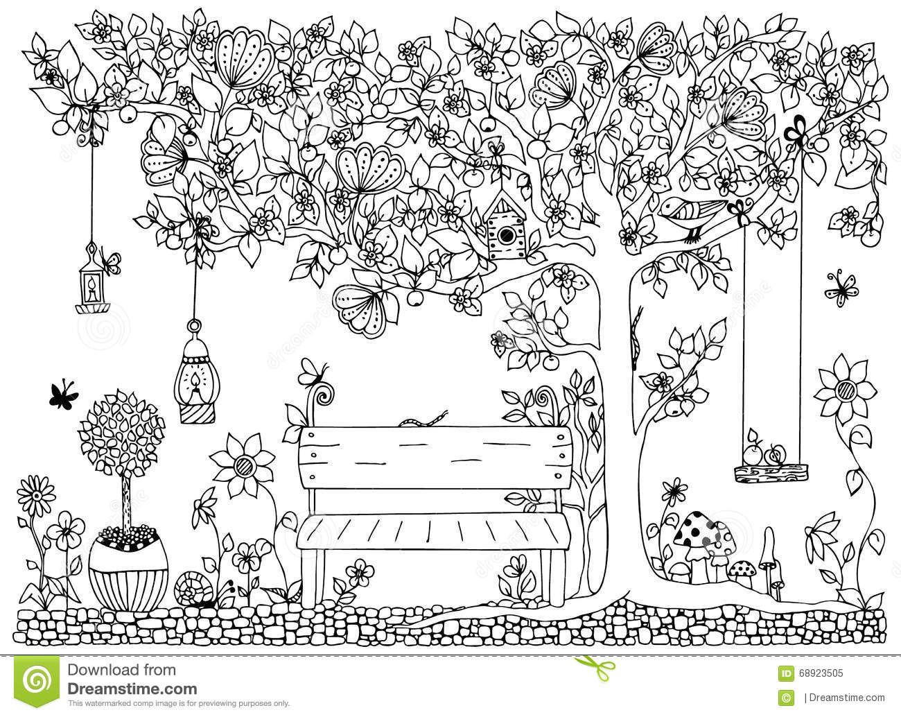 Tree coloring pages only coloring pages - Vector Illustration Zentangle Park Garden Spring Bench A Tree With