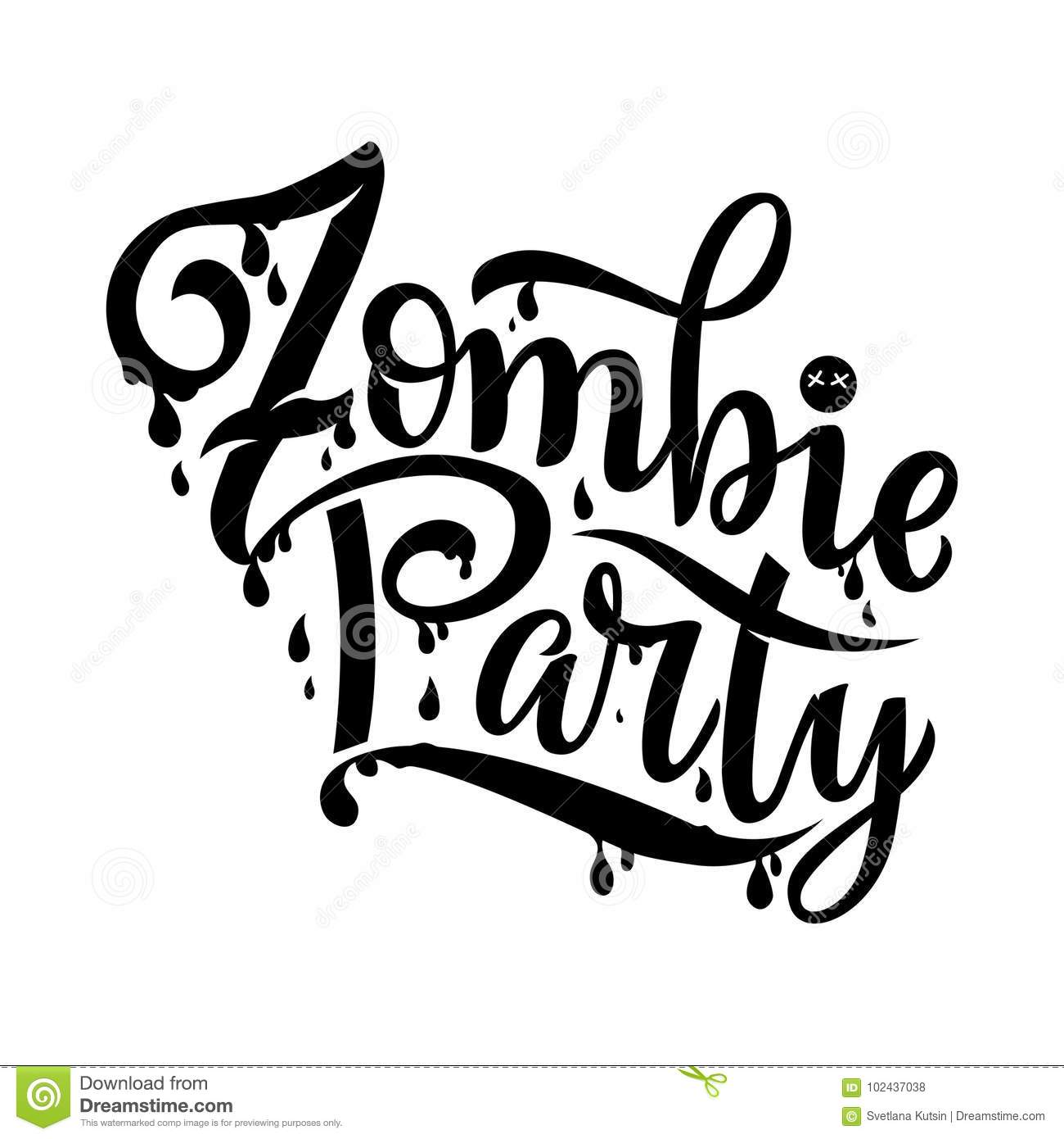 Zombie Party Text For Party Invitation, Greeting Card, Banner ...