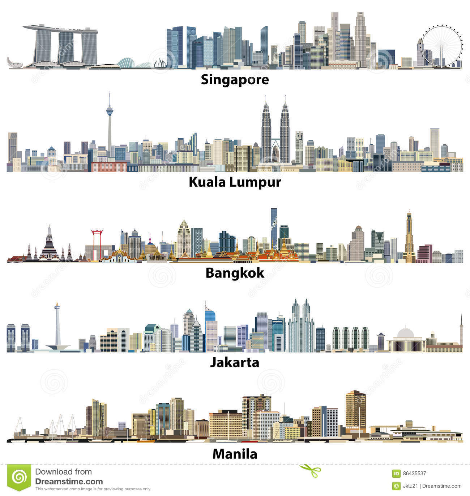 Vector Illustrations Of Asian CitiesSingapore, Kuala
