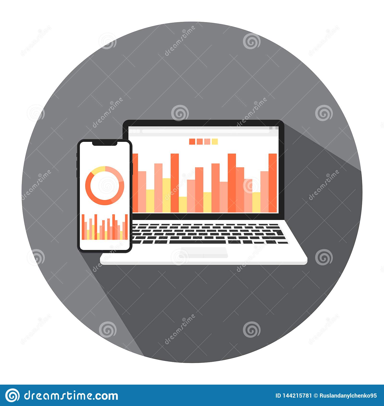 Vector illustrations of online business, financial business and money report with the concept of online management of financial