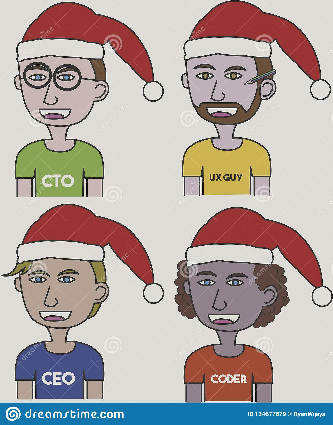 Vector illustrations of startup team using Santa Hat for Christmas