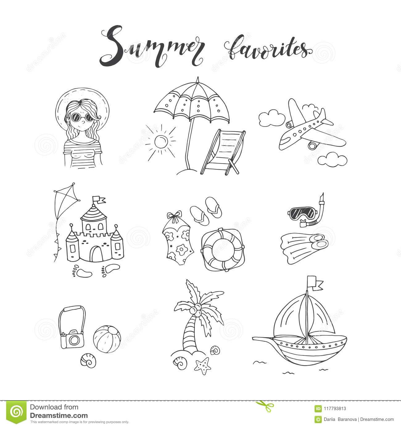 Vector Illustrations With Summer Elements Stock Vector