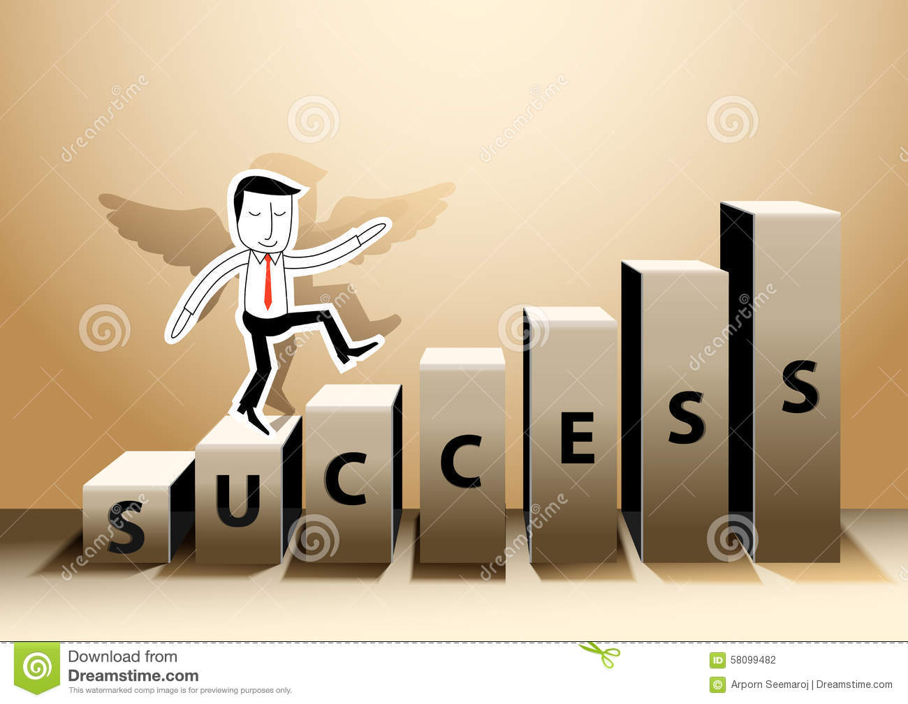 Vector Illustrator Businessman Stepping Up Success Of A