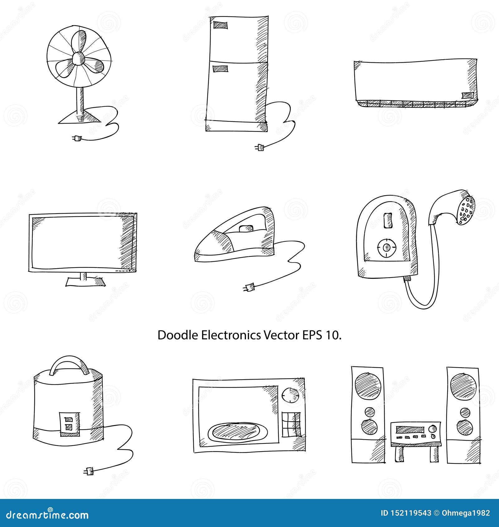 Vector Illustrator EPS 10 de los iconos de la electrónica del garabato
